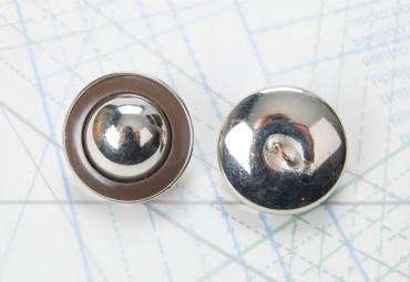 Bouton en métal argenté estampé boucle en U