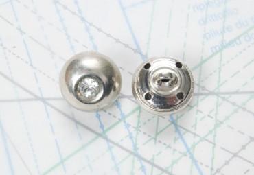 Bouton en métal argenté estampé boucle en U sur collet