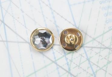 Bouton en métal doré et acrylique transparent estampé boucle en U
