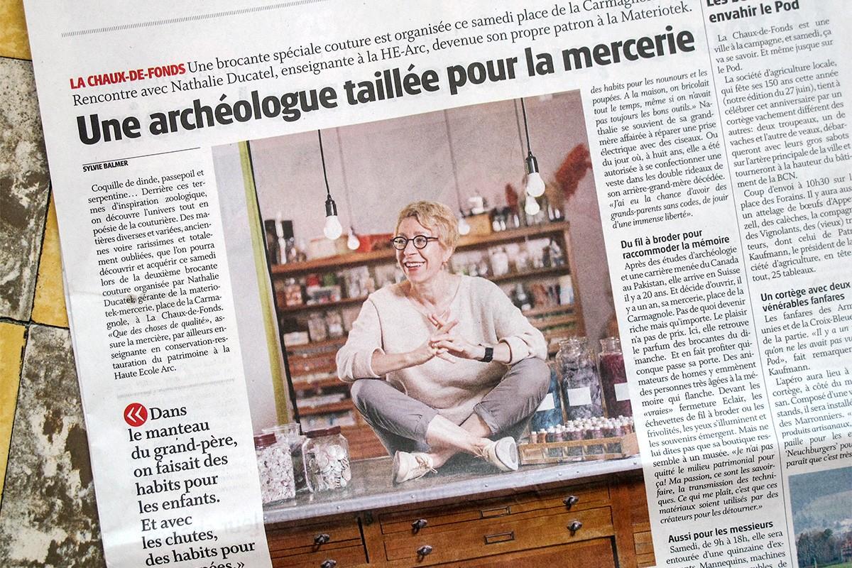 Article de presse : Une archéologue taillée pour la mercerie