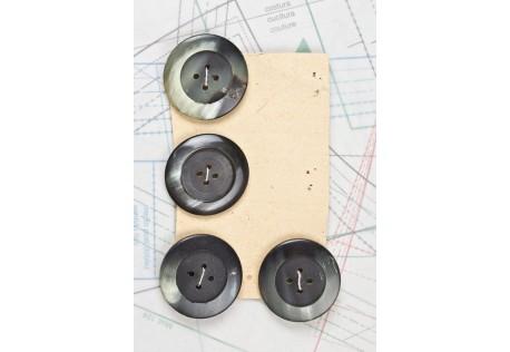 bouton en corne noire, 4 trous, 1 plaque de 4 boutons