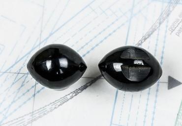 bouton en corne noire, trou tunnel